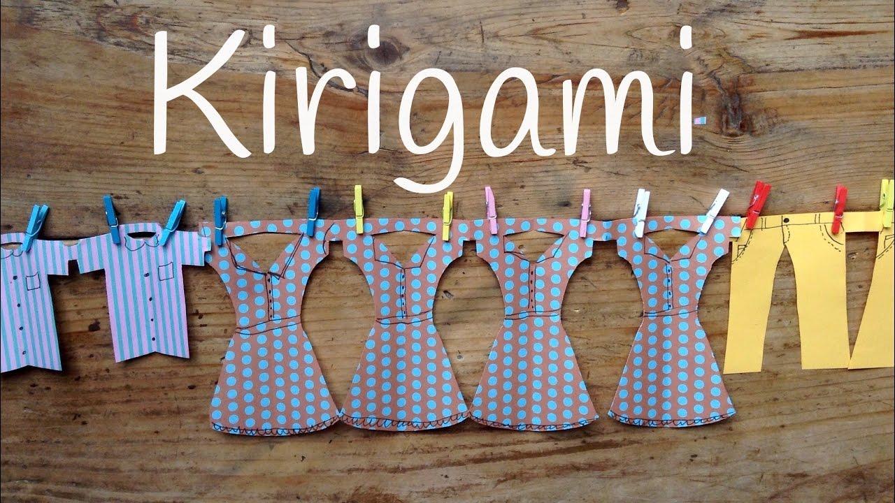 Guirnaldas de papel ropa colgada | Kirigami para niños paso a paso