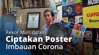 Ciptakan 100 Desain Poster Kampanye Virus Corona dalam 100 Hari, Pria Solo Ini Dapat Rekor MURI