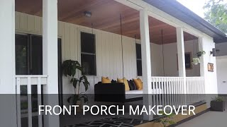 DIY Large Front Porch Makeover | Paint And Patch, Siding, Bed Swing, And More!