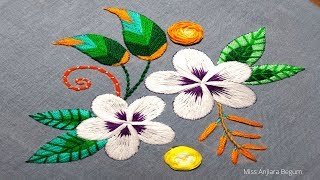 Twin White Embroidery Flowers,Hand Embroidery Online Class,Cute Embroidery Designs-103, #Miss_A