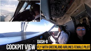 Cockpit view | female pilot of Greenland Airlines:  fly from Greenland to Iceland