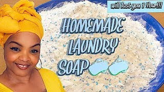 Homemade Powder Laundry Detergent DIY | Easy Laundry Soap Recipe That Will Last You 1 Year