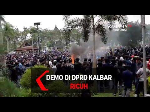 demo mahasiswa tolak uu omnibus law di dprd kalbar ricuh
