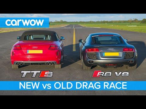 Audi R8 V8 2008 vs new TTS - DRAG RACE, ROLLING RACE & BRAKE TEST
