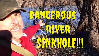 Dangerous River Sinkhole!!  Why Isn't This Road CLOSED????