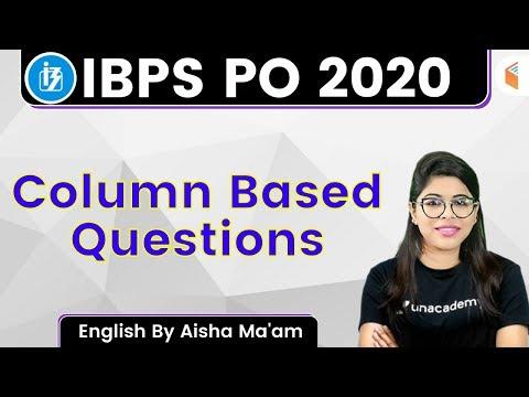 5:00 PM - IBPS PO 2020 | English by Aisha Rasheed | Column Based Questions