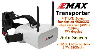 "EMAX Transporter 4.3"" FPV Goggles, 480x320, 48Ch, 5.8GHz, Auto Scan, 18650 battery"