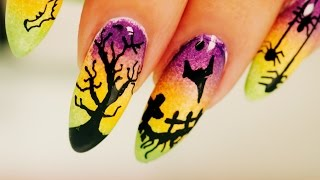 Ombre Halloween Nail Art - Step By Step Tutorial