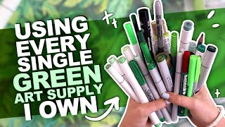 GOING GREEN?!   Drawing Something Using Every GREEN PENCIL, MARKER, WATERCOLOR, ETC I Own.