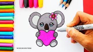 Cómo Dibujar Un KOALA Kawaii Con Un Corazón