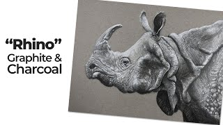 Realistic Graphite And White Charcoal Drawing - Rhinoceros