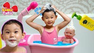 그린핑거 마이키즈 베렝구어 아기인형 목욕 어린이 화장품 장난감 놀이| 강아지 뽀뽀와 놀이터에서 소꿉놀이 목욕놀이 LimeTube & Toy 라임튜브