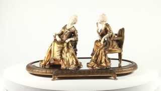 Xavier Raphanel -Louis XVI Style Three Piece Ivory Mounted Gilt Bronze Table Centrepiece