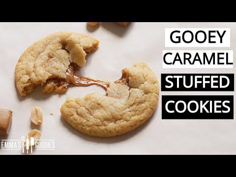 THE SOFTEST Caramel STUFFED Peanut Butter Cookies Recipe
