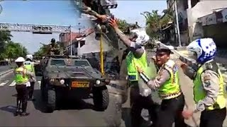 Polisi Mendadak Cegat Konvoi Kendaraan Tempur TNI yang Dikawal Polisi Militer, Ini yang Terjadi
