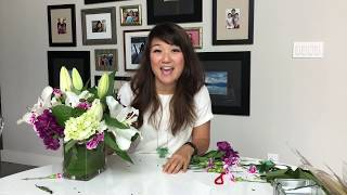 Easy Elegant Floral Arrangement Using Grocery Store Flowers