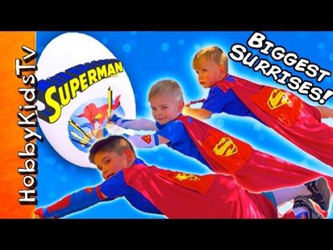 Worlds BIGGEST SUPERMAN Egg! SUPER Kids Surprise Adventure HobbyKidsTV