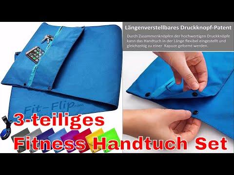 3 tlg. Fitness Handtuch Set mit Reißverschluss Fach + Magnetclip + extra Sporthandtuch