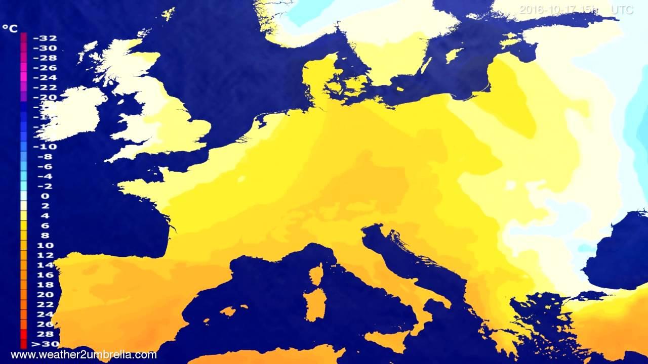 Temperature forecast Europe 2016-10-15
