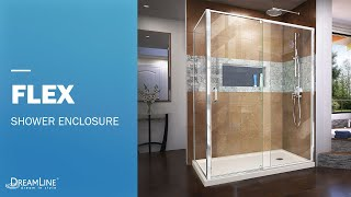 Watch DreamLine Flex Shower Enclosure | Pivot Opening