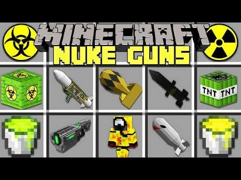 Minecraft NUKE GUNS MOD l CRAFT NUCLEAR WEAPONS TO BATTLE BOSSES! l Modded Mini-Game