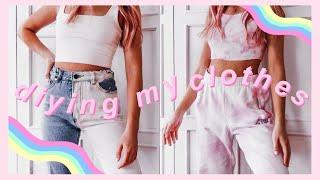 DIY Trendy Clothes: Half Bleached Jeans & Tie Dye Set! *tik Tok Trends*
