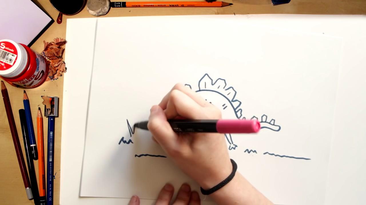 Como desenhar um Estegossauro - desenhos de Dinossauros para crianças