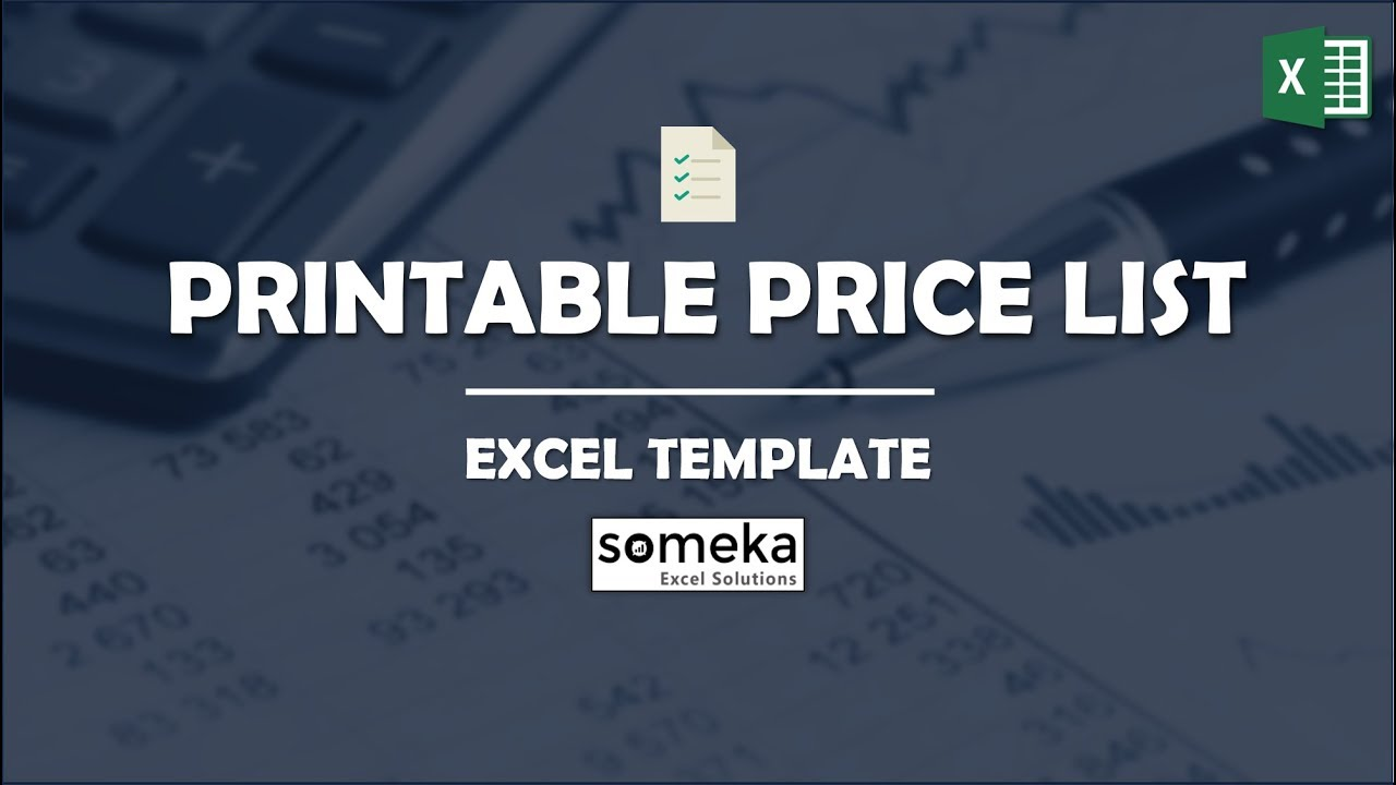 Price List Template In Excel Free Download Printable Spreadsheet
