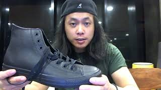 Chuck Taylor All Star Leather High Top Black Mono Review, Unboxing + On Feet