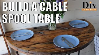 Cable Spool Projects:  SUPER COOL Cable Reel Table - Recycled Wood Furniture