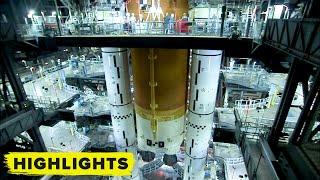 Watch NASA Artemis Rocket Core Stage Stacking (Time Lapse)