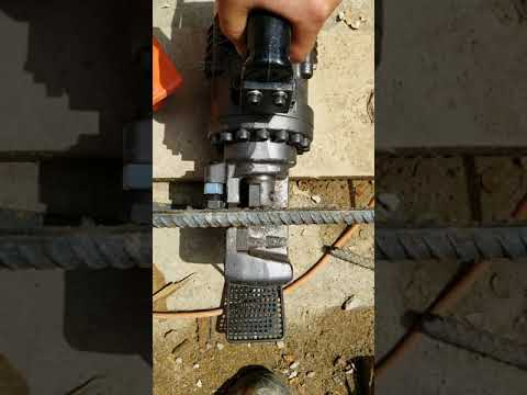 Rebar cutter in slow motion