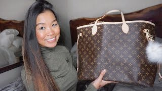 WHAT'S IN MY CARRY-ON BAG (LOUIS VUITTON NEVERFULL GM MONOGRAM)?!