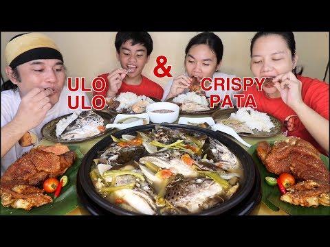 Sinigang na ULo ULo Salmon,Pork Crispy Pata with special suka sawsawan Pinoy Mukbang!