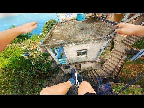 Intense Parkour Run Over the Roof Tops of Rio de Janeiro