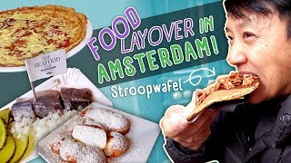 FOOD LAYOVER! Trying 'DUTCH SUSHI' and Stroopwafel in Amsterdam