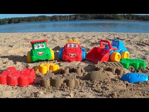 , title : 'Мультфильм про грузовые машинки и фигурки из песка'