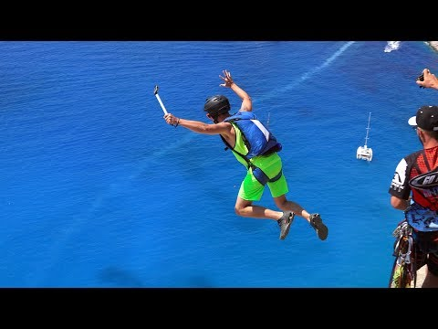 BASE Jumping in Greece Over an Old Shipwreck
