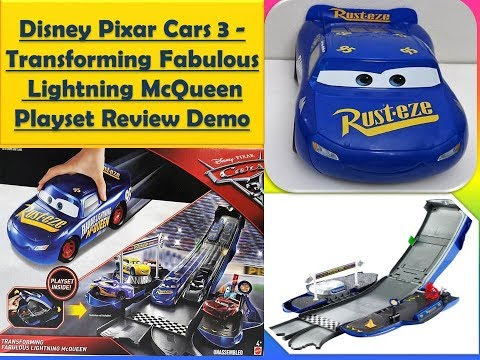 Disney Pixar Cars 3 Transforming Fabulous Lightning McQueen Playset Demo  Review With Cars3 Diecasts