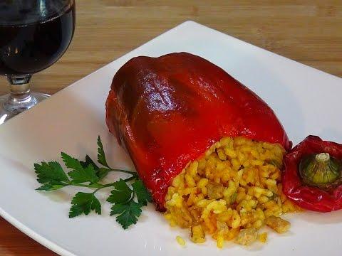 Receta Pimientos rellenos de arroz y carne - Recetas de cocina, paso a paso, tutorial