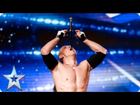 Alexandr Magala risks his life on the BGT stage | Week 1 Auditions | Britain's Got Talent 2016 (видео)