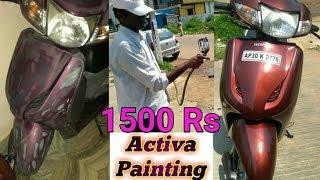 how to paint a bike with spray paint | honda activa bike painting | neelu arts