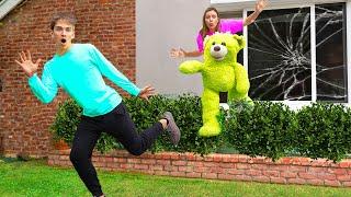 SCARING STEPHEN SHARER OUT OF SHARER FAM HOUSE!! (Giant Teddy Bear Prank)