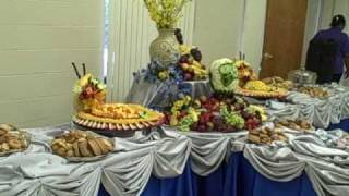 Fruit Display With Melon Carving. (Wedding)