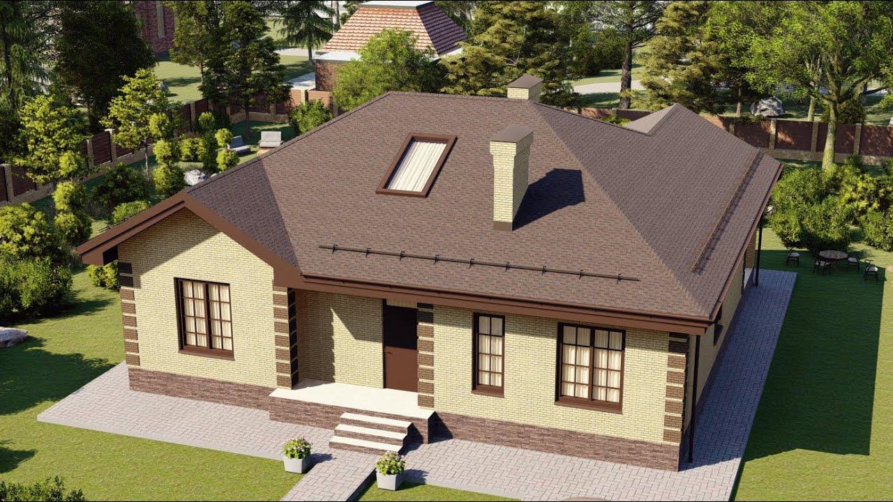 Одноэтажный кирпичный дом 14 х 14 метров