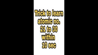 trick to learn atomic no. 21 to 30 within 10 sec |rayymone|