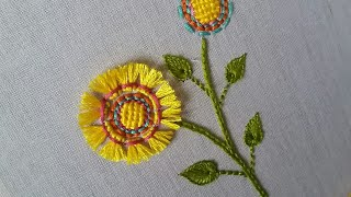 Hand Embroidery  Pattern Of A Flower Using Tufting,looks Beautiful