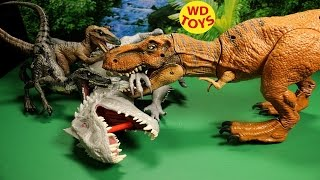 NEW JURASSIC WORLD STOMP AND STRIKE TYRANNOSAURUS REX 2015 REVIEW VS Hybrid INDOMINUS REX - WD Toys