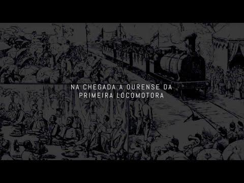 """Presentación audiovisual. """"Na chegada a Ourense da primeira locomotora""""."""