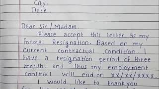 Write a Resignation letter | Formal Resignation Letter